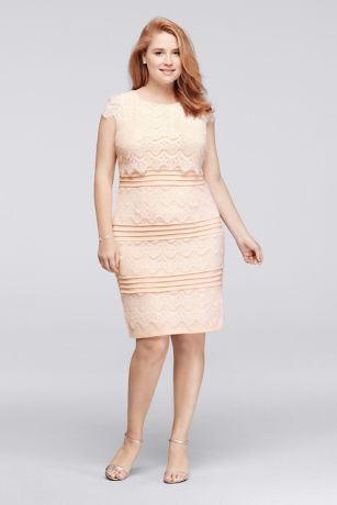 Knee Length Plus Size Lace Dress with Cap Sleeves   David\'s Bridal