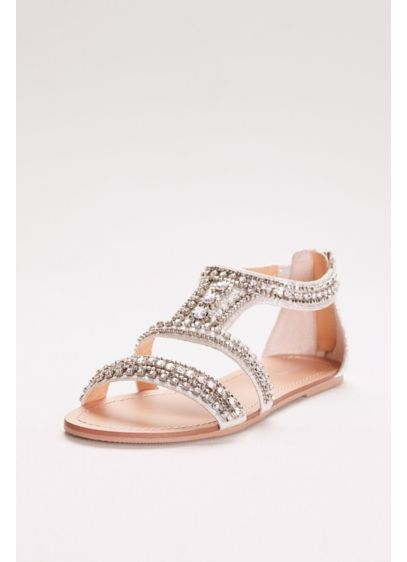 Gem encrusted flat sandals david 39 s bridal for Flat dress sandals for weddings