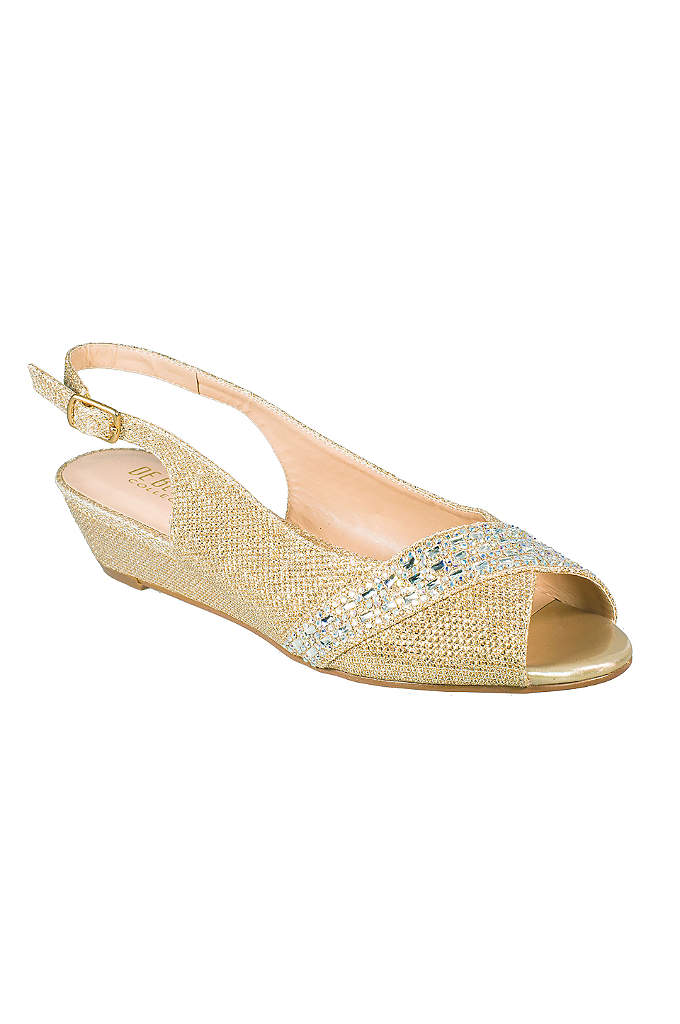 Rhinestone-Embellished Low Wedge Slingbacks - Keep comfy at your next big event in