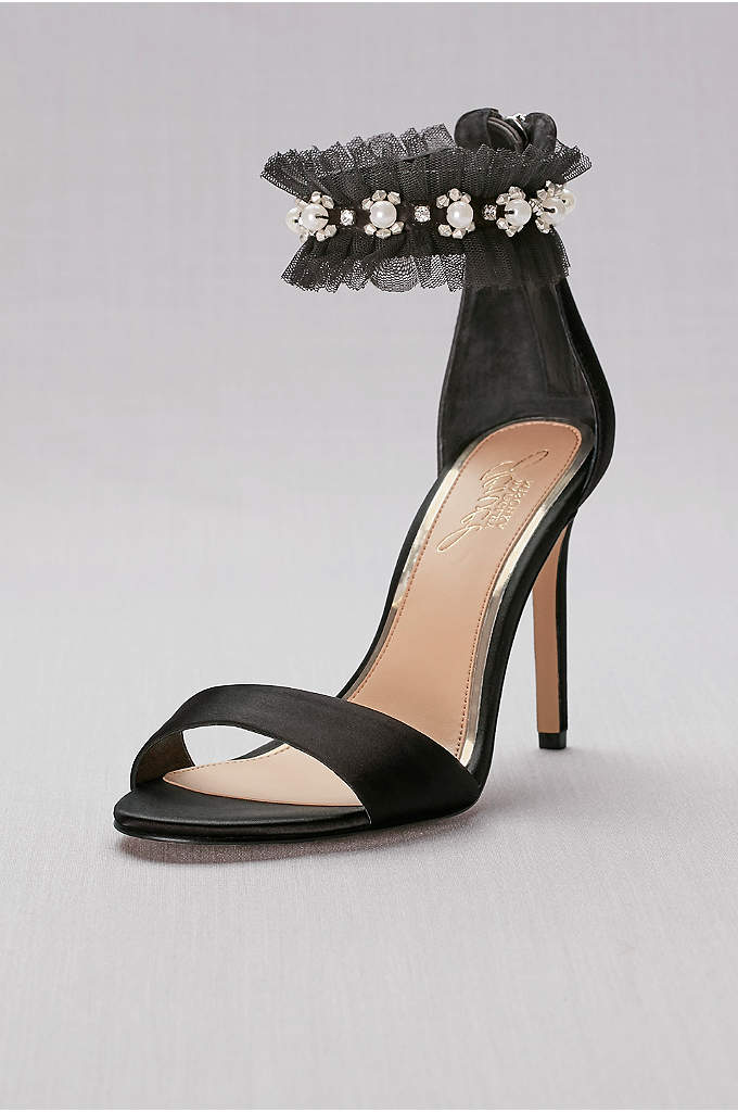 Satin High Heels with Embellished Ankle Strap - A tulle ruffle and pearl and crystal beading