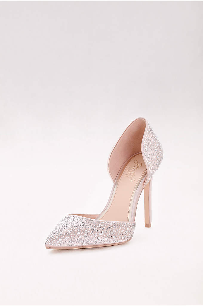 Crystal-Embellished Satin Two-Piece Pumps - Adorned all over with glittering crystals, these pointed-toe