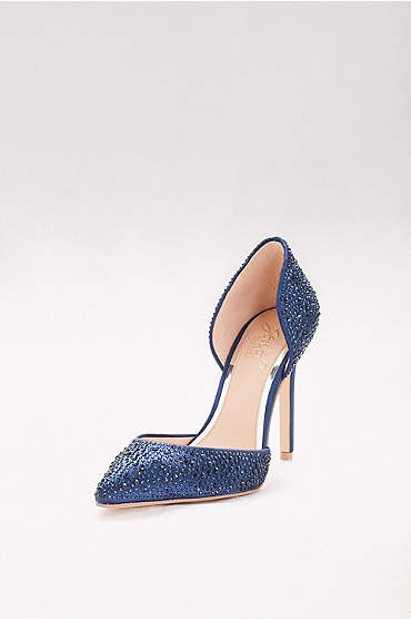 Crystal-Embellished Satin Two-Piece Pumps