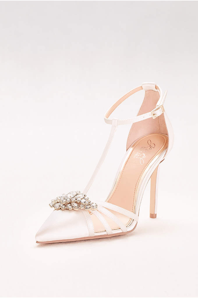 Pointed Satin T-Strap Heels with Crystal Ornament - These elegant satin T-strap heels, adorned with a