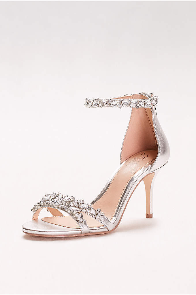 Crystal-Embellished Metallic Ankle Strap Heels - Slim straps and bold gems make these party-ready