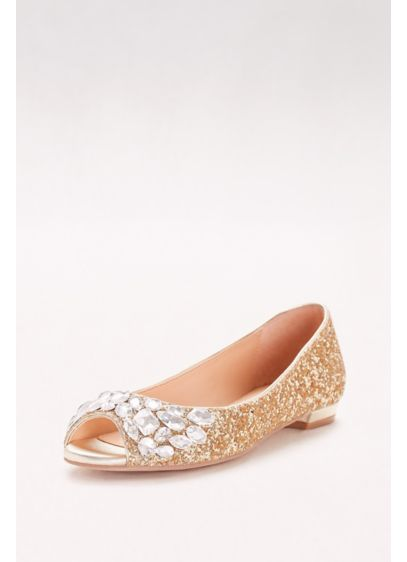 Jewel Badgley Mischka Yellow (Glitter Peep-Toe Flats with Gem Embellishment)