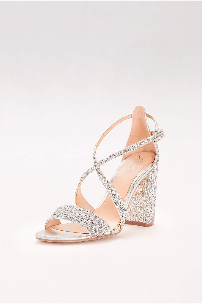 Textured Glitter Block-Heel Sandals - A perfect partner for LBDs and flowing wedding