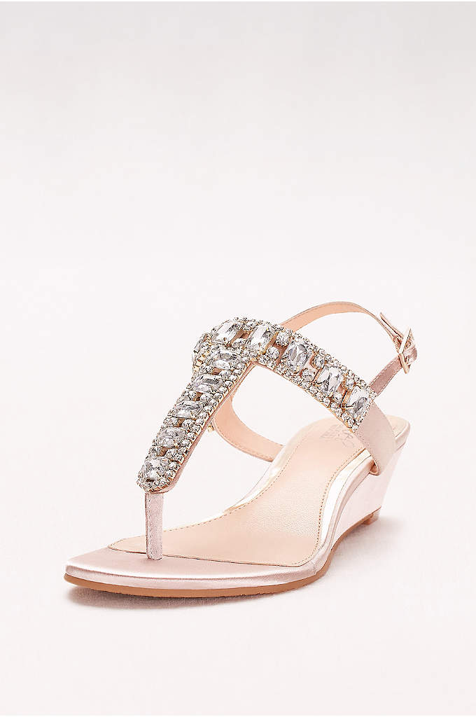 Jeweled Satin T-Strap Low Wedges - Chunky, faceted gems give these low-heeled satin wedges
