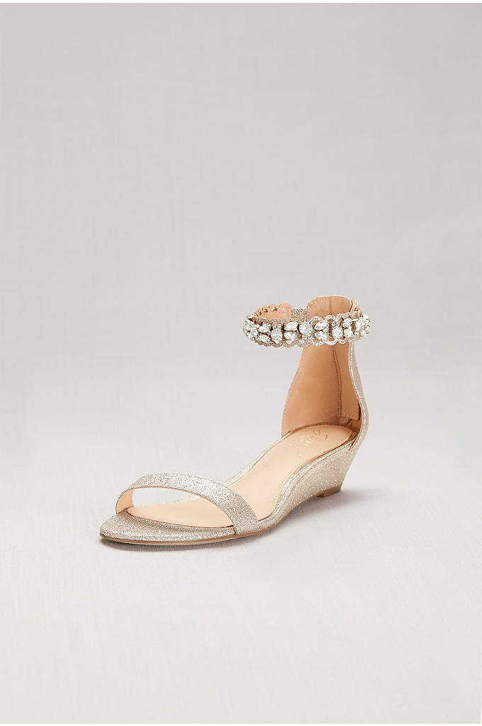 Glittery Low Wedge Sandals with Jeweled Ankle - Chunky crystals shine from the scalloped ankle strap