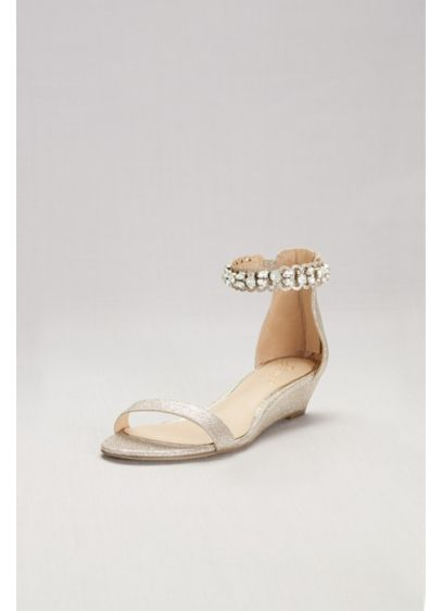 Jewel Badgley Mischka Yellow (Glittery Low Wedge Sandals with Jeweled Ankle)