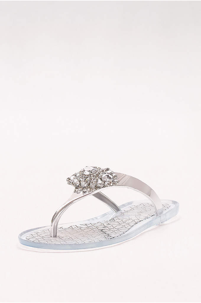 Crystal-Embellished Jelly Flip Flops - A modern update to the beloved jelly sandal,