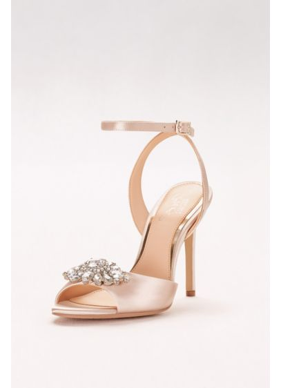 Jewel Badgley Mischka Ivory (Satin Ankle-Strap Heels with Crystal Ornament)