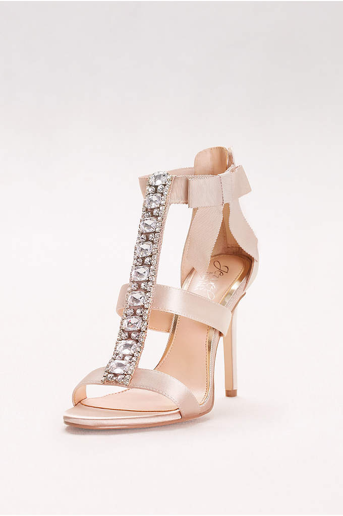 Embellished T-Strap Heels with Grosgrain Bow - A grosgrain ribbon bow provides a sweet touch