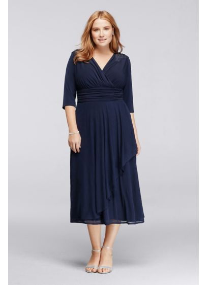 Tea Length A-Line Elbow Sleeves Mother and Special Guest Dress - Sangria