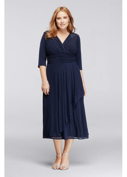 3/4 Sleeve Tea-Length Dress with Beaded Shoulders JWJU1AIQ