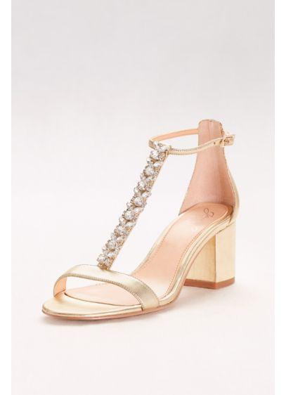 Jeweled Metallic T Strap Block Heels David S Bridal