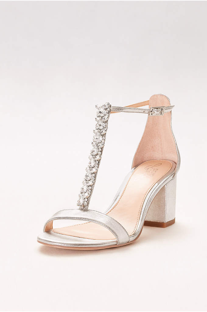 Jeweled Metallic T-Strap Block Heels - Retro-inspired block-heel sandals are a chic choice for