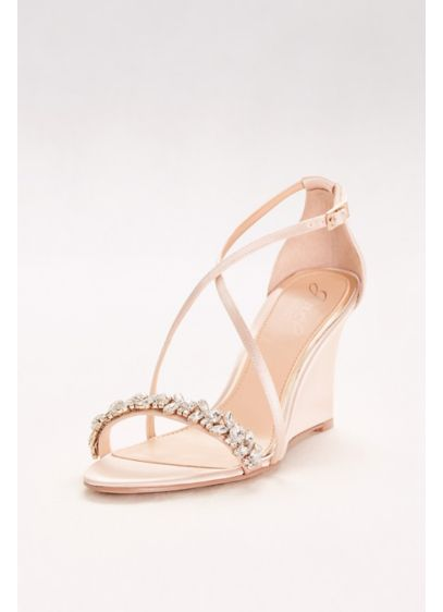 Jewel Badgley Mischka Ivory (Satin and Crystal Wedges with Crisscross Straps)