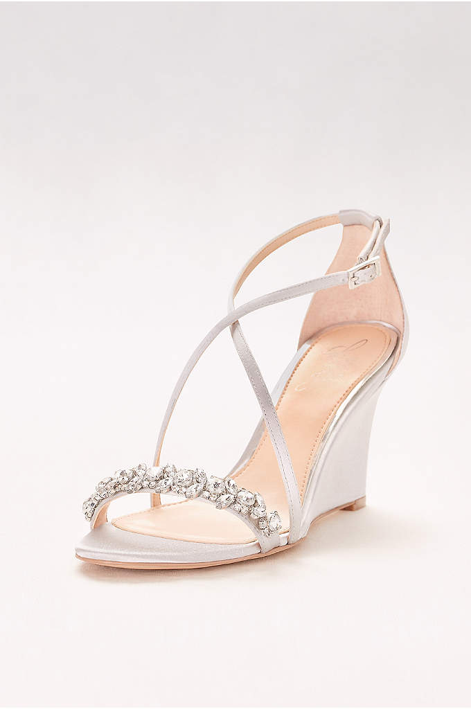 Satin and Crystal Wedges with Crisscross Straps - Slim crisscross straps and sparkling gems make these