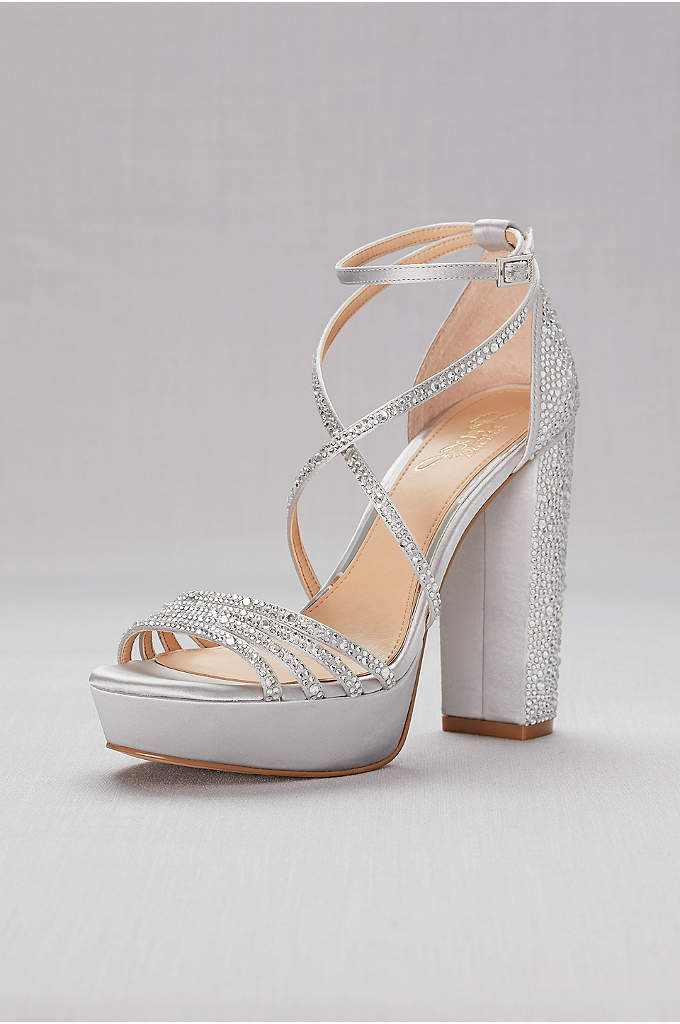 Crystal-Embellished Strappy Satin Platform Sandals - A sprinkling of crystals all over the skinny