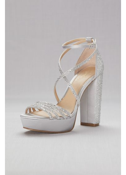 Jewel Badgley Mischka Grey (Crystal-Embellished Strappy Satin Platform Sandals)