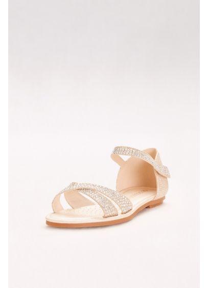 Blossom Beige (Girls Crystal Crisscross Quarter-Strap Sandals)