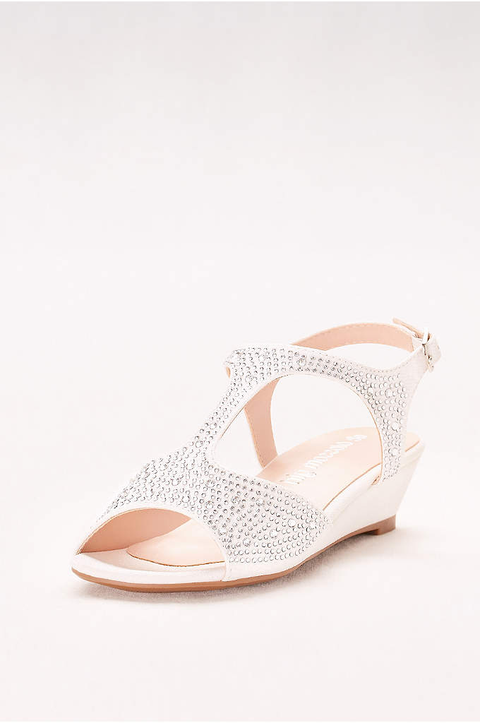 Crystal-Studded Girls Mini Wedges - Ideal for flower girls, these sparkling T-strap mini-wedges