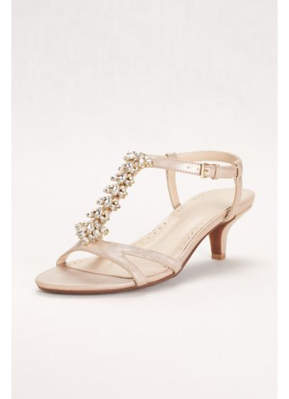 David's Bridal Ivory (Crystal T-Strap Low Heel Sandal)