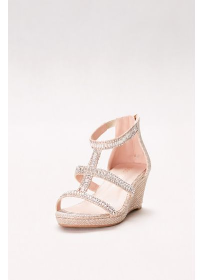 Blossom Beige (Girls Embellished Wedges with Gladiator Straps)