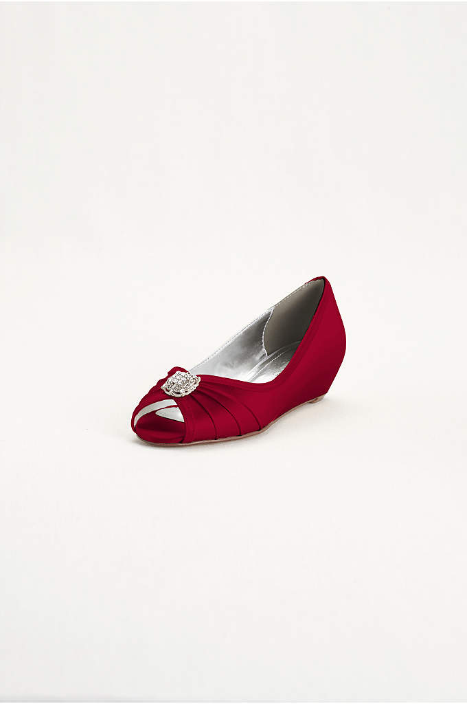Dyeable Wedge Peep Toe with Rhinestone Ornaments - You won't sacrifice style for comfort with this