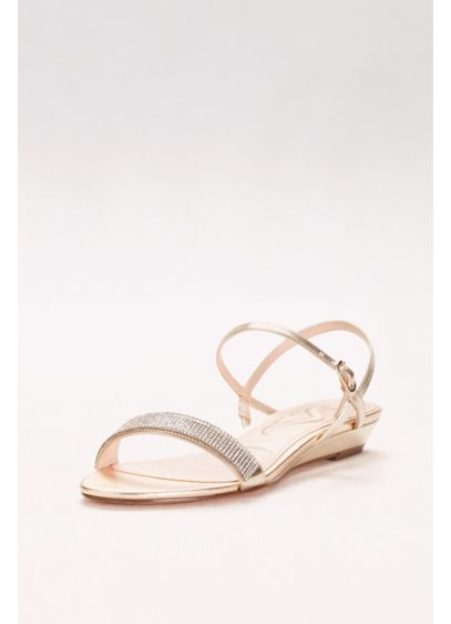 Nina Yellow (Glitter Band Quarter-Strap Mini-Wedge Sandals)