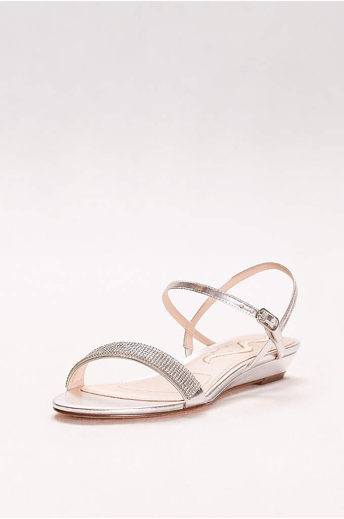 Glitter Band Quarter-Strap Mini-Wedge Sandals - The perfect combo of simple and shimmery, these