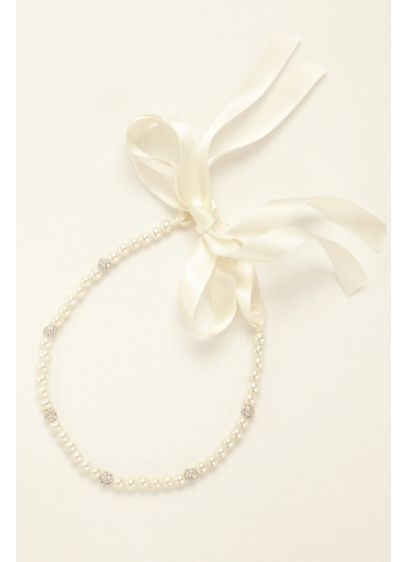 Pearl Headband with Crystal Rondelle Beads - Wedding Accessories