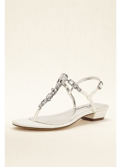 Touch of Nina Ivory (Touch of Nina Multi Stone T-strap Metallic Sandals)