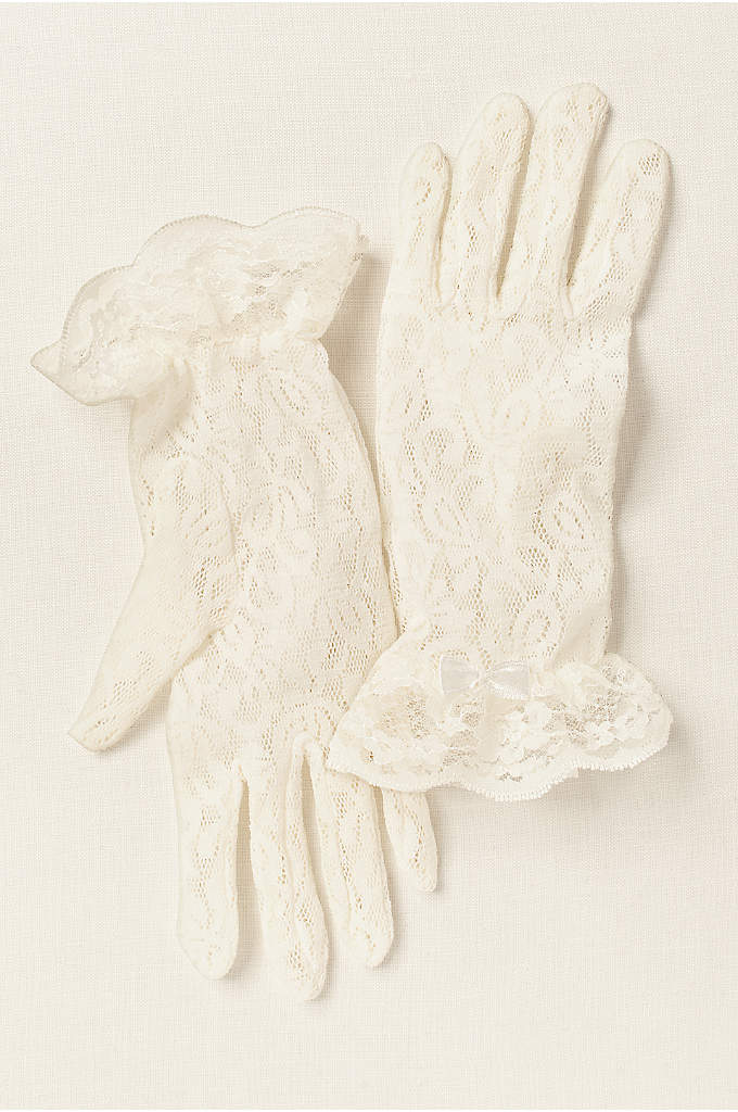 Girls Lace Wrist-Length Gloves - These wrist-length girls lace gloves are perfect for