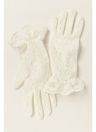 White (Girls Lace Wrist-Length Gloves)