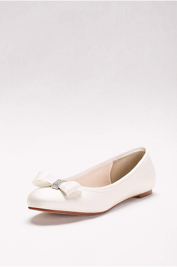 Crystal Bow Satin Ballet Flats - The dance floor has met its match: you,