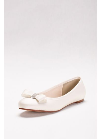 David's Bridal Ivory (Crystal Bow Satin Ballet Flats)