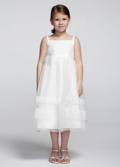 Tea Length Spaghetti Strap Organza Dress KP1326