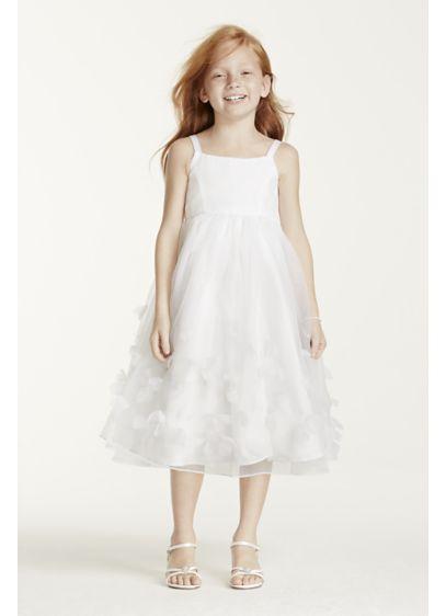 Tea Length Ballgown Spaghetti Strap Communion Dress -