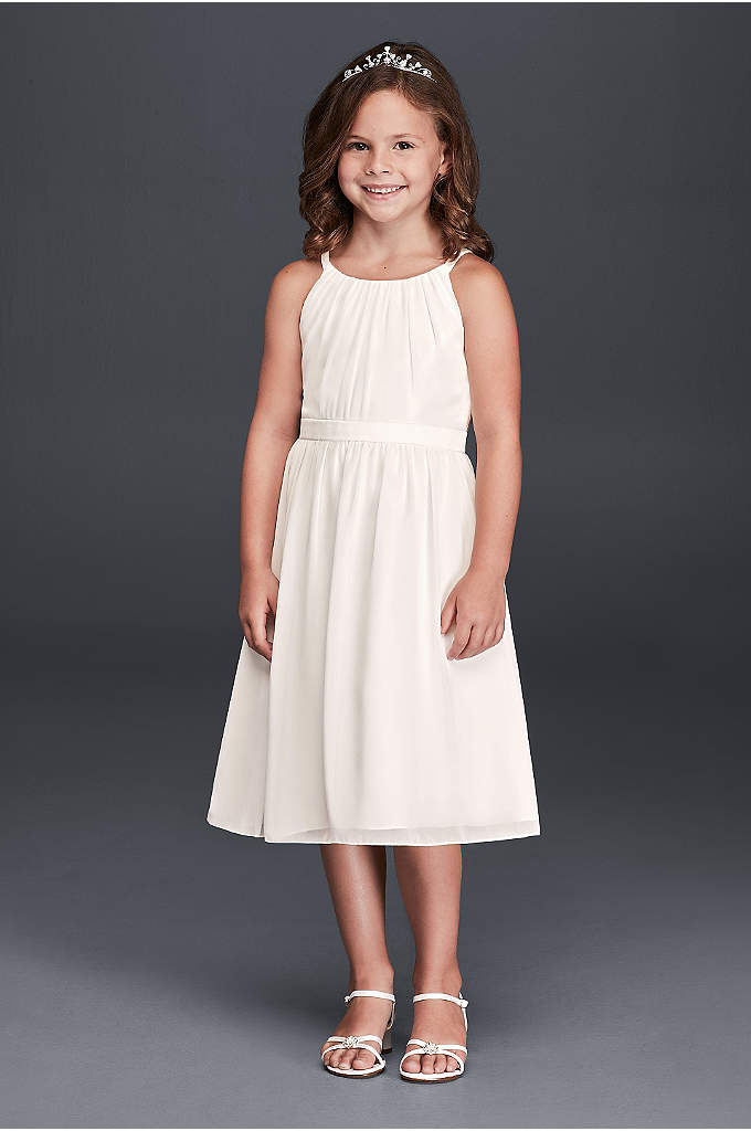 Spaghetti Strap Chiffon Tea Length Dress - Simply beautiful, this chiffon tea length flower girl