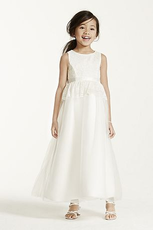 Tank Ball Gown with Lace Peplum Detail