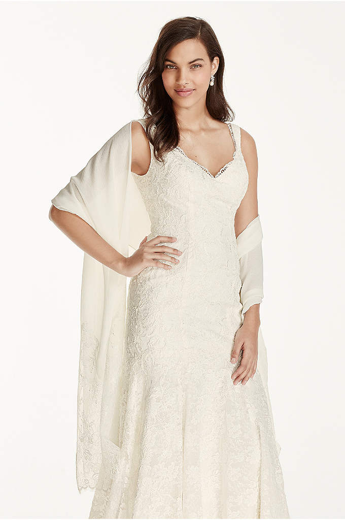 Chiffon Wrap with Lace Applique Border - This beautiful chiffon wrap will provide extra coverage