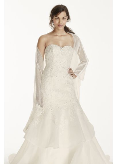 Dot Tulle Wrap with Lace Trim KP159