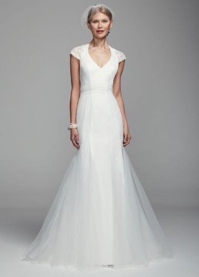 Lace Cap Sleeve Trumpet Gown with Illusion Back KP3661