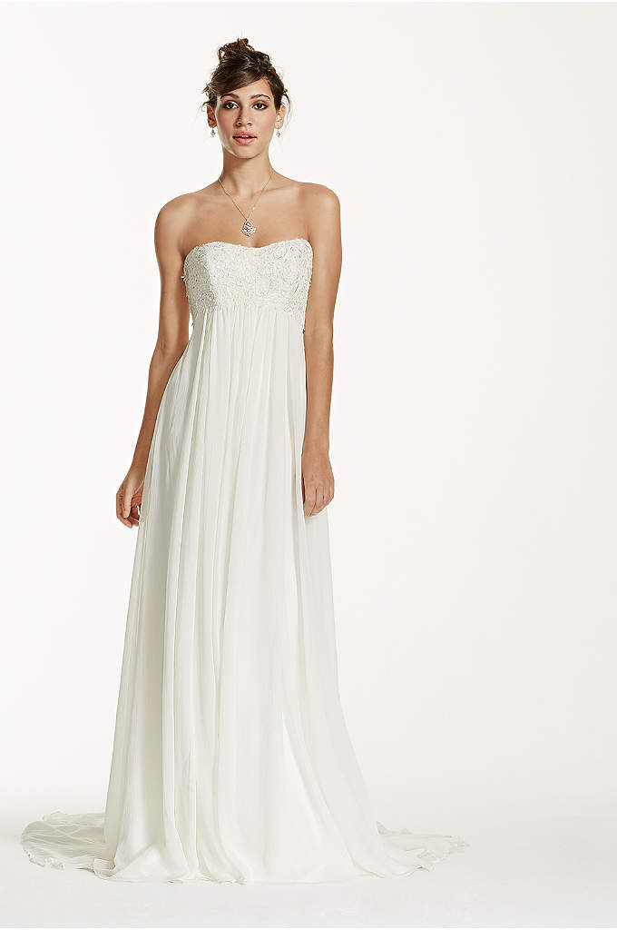 Crinkle Chiffon Gown with Lace Applique - A long and soft silhouette translates to a