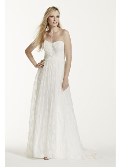 Strapless Empire Waist Lace Gown | David\'s Bridal