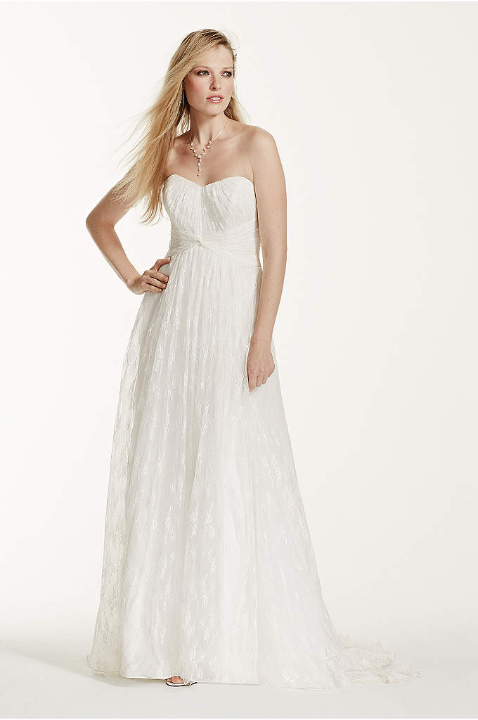 Strapless Empire Waist Lace Gown - Look like a goddess in this breathtaking beautiful