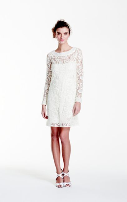 Long Sleeve Short Lace Gown with Pearl Beading | David's Bridal