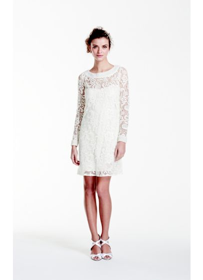 Long Sleeve Short Lace Gown with Pearl Beading | David\'s Bridal