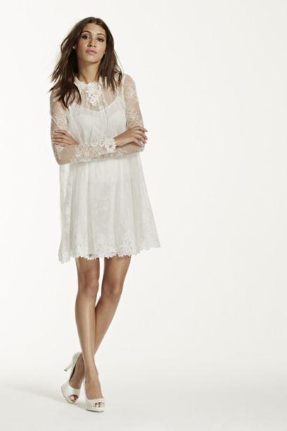 Lace Short Dress with Illusion Long Sleeves | David's Bridal